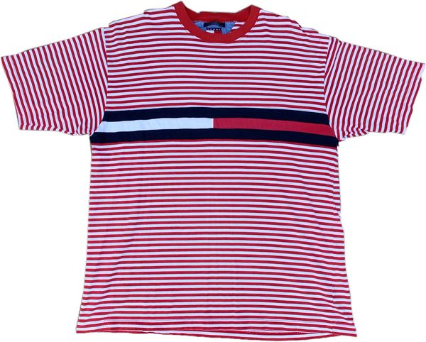 Vintage Tommy Hilfiger Striped Big Flag Tee (Red)