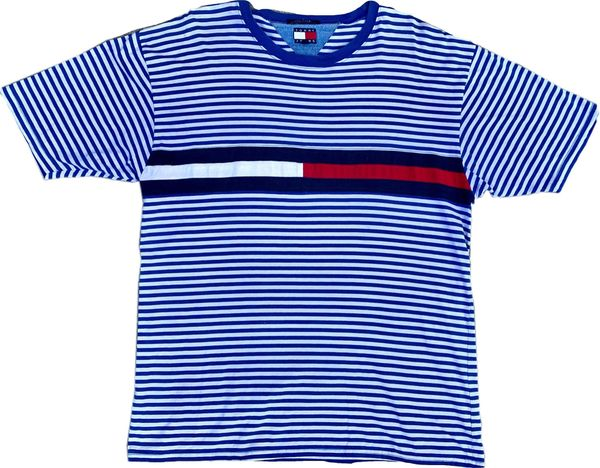 Vintage Tommy Hilfiger Striped Big Flag Tee (Blue)