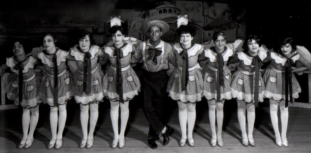 Leonard Harper (center) and his Harperettes Chorus Line