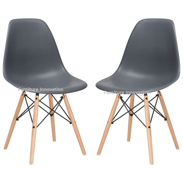 Amazing Molded Dining Chair Dark Grey With Natural Wood Leg Set Of 2 Ncnpc Chair Design For Home Ncnpcorg