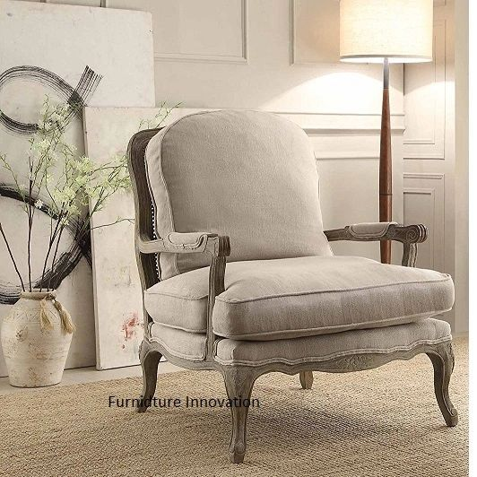 Parlier Grey Fabric Show Wood Accent Chair Homelegance