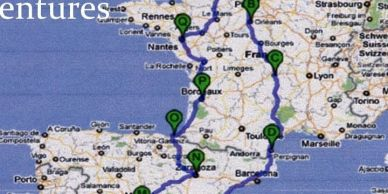 Map of France and Spain with the route to southern Spain marked out.Andalucian Adventures