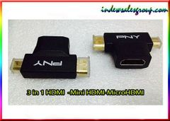 3 in 1 HDMI Female to Mini HDMI Male + Micro HDMI Male Adapter Connector