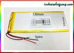 Lithium Polymer 3.7V 3500mAh Battery 130x55mm 3Pins