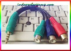 3 RGB Female to 3.5mm Male Video HDTV Component Cable