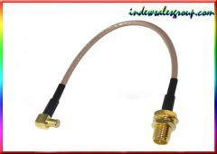 RP SMA female Jack bulkhead to MCX male right angle pigtail RG316 15cm RF Cable