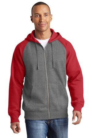 Sport-Tek® Raglan Colorblock Full-Zip Hooded Fleece Jacket