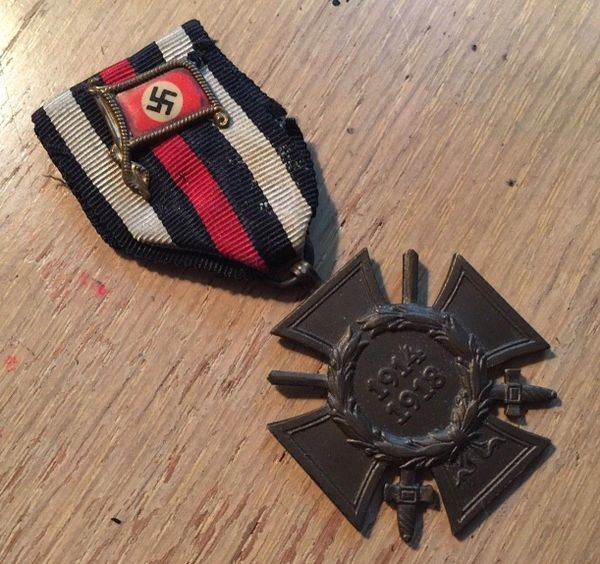 WW1 German Hindenburg cross Medal Ribbon w/ RARE NAZI SWASTIKA WW2 Flag Pin  WWII