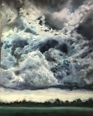 original oil painting on wooden board in dark wood frame of a beautiful thunderstorm trees horizon