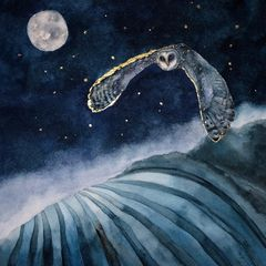 watercolour and gold leaf painting print of flying barn owl flying over landscape with the moon