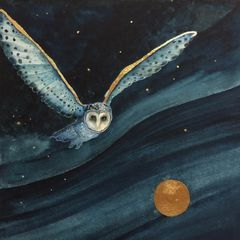 watercolour painting print of a barn owl flying over the landscape with the moon at night