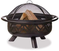 Uniflame Bronze Fire Pit w/Geometric Design