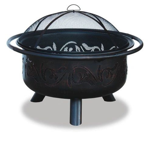 Uniflame Bronze Fire Pit w/Swirl Design