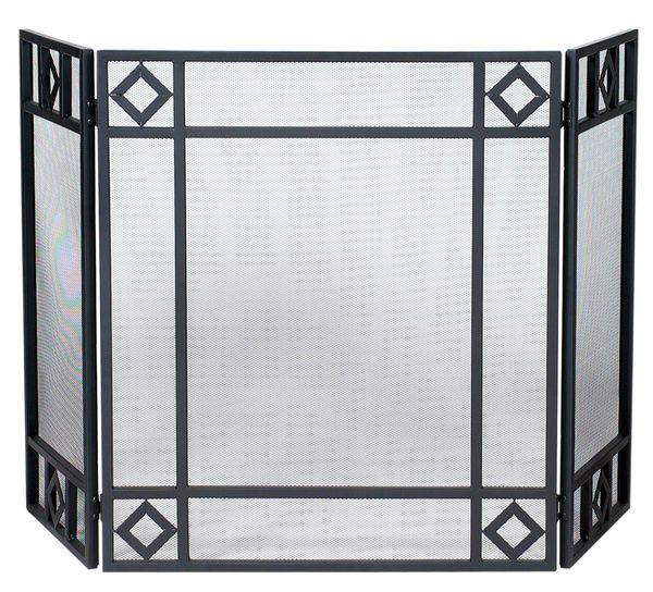 Uniflame 3 Panel Fireplace Screen w/Diamond Design