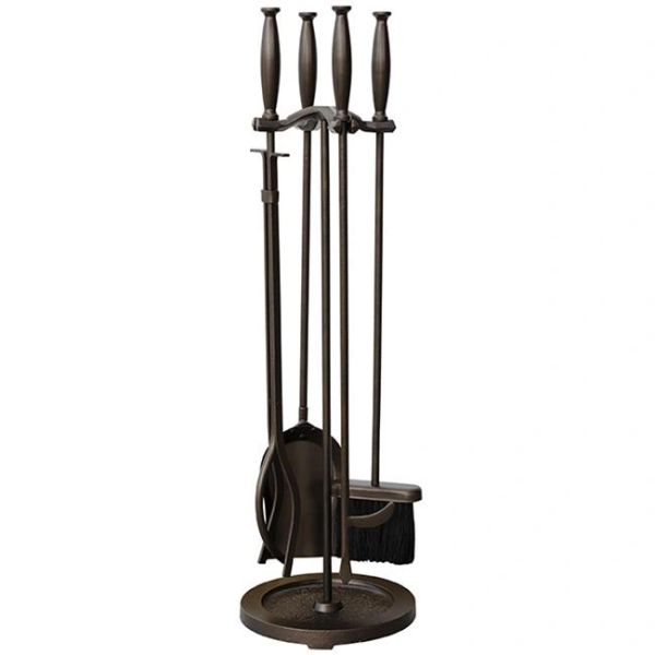 Uniflame 5 pc Bronze Fireset w/Cylinder Handles
