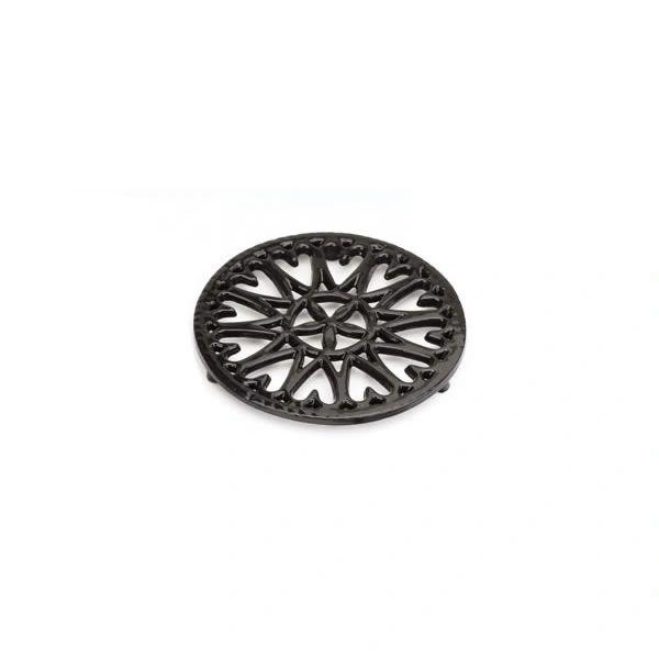 """Black enamel 6.5"""", flower trivet"""