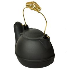 Black, 2 quart, cast-aluminum half kettle