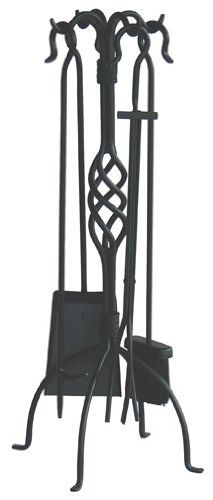 Uniflame 5 Piece Black Wrought Iron Fireset