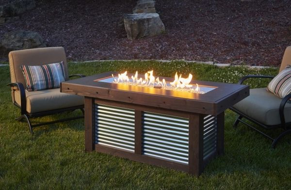 Outdoor GreatRoom Company Denali Brew Linear Gas Fire Pit Table