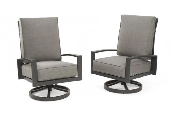 Outdoor GreatRoom Company Cast Slate Lyndale Highback Swivel Rocking Chairs