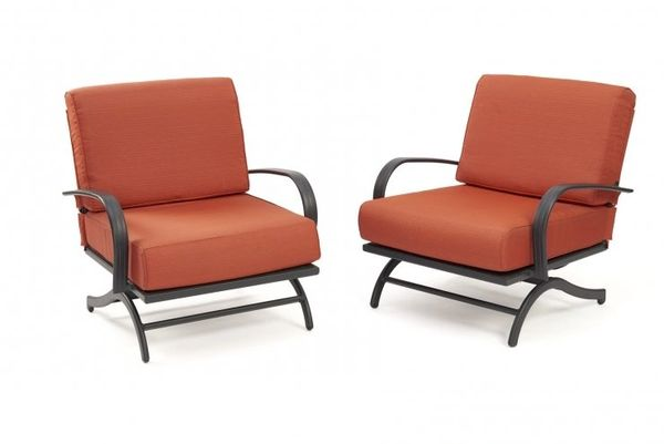 Outdoor GreatRoom Company Chat Rocking Chairs w/ Papaya Cushions (Set of 2)