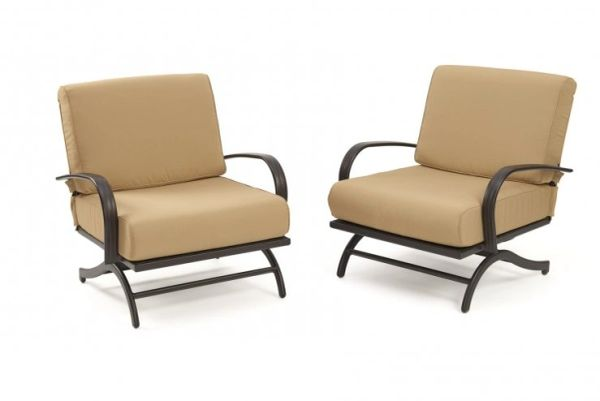Outdoor GreatRoom Company Chat Rocking Chairs w/ Tan Cushions