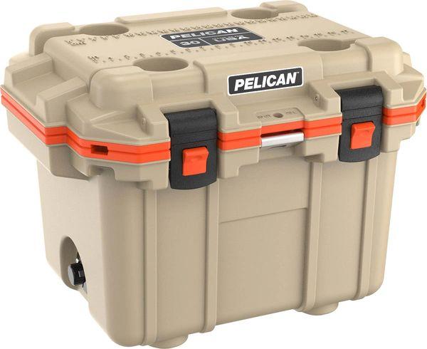 Pelican 30qt Elite Cooler - Tan & Orange