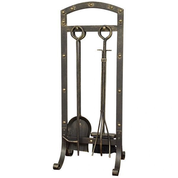 Uniflame Aged Bronze Fire Set w/Ring Handles