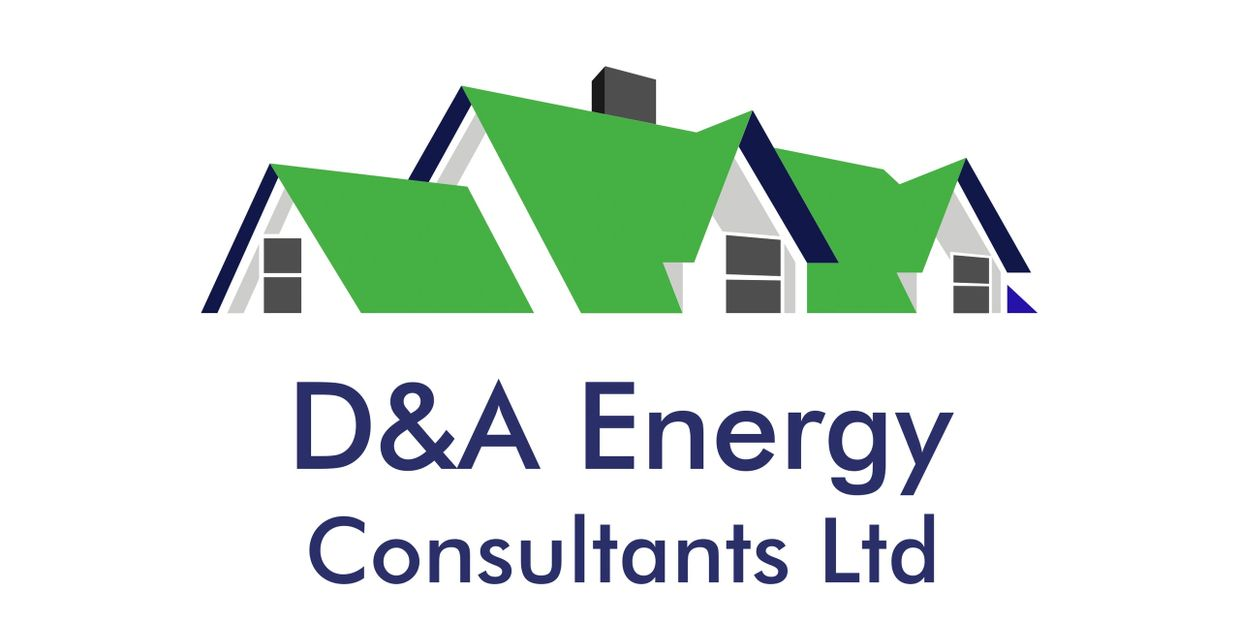 Green rooftop and grey windows with blue writing D&A Energy Consultants logo