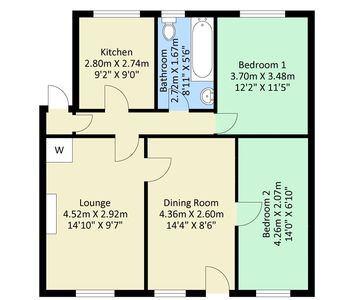 Residential property floor plan image with room measurements