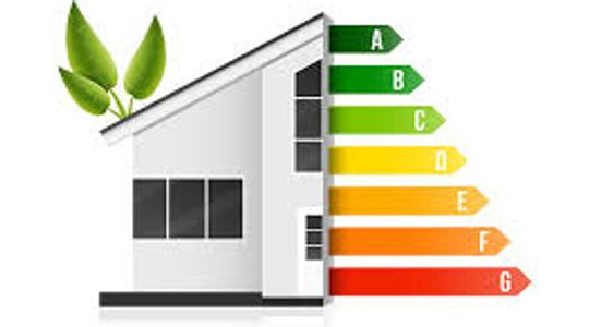 Home energy efficiency graph green plant sprouting from roof