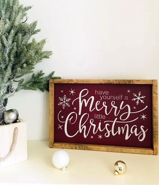 Have Yourself A Merry Little Christmas Sign.Have Yourself A Merry Little Christmas Framed Rustic Wood Sign