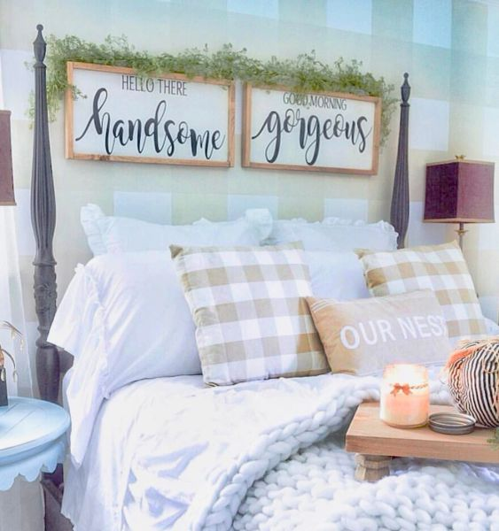 Good morning gorgeous hello there handsome set of 2 - Over the bed decor ...
