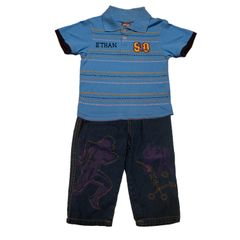 Football Shirt and Denim Pants Set