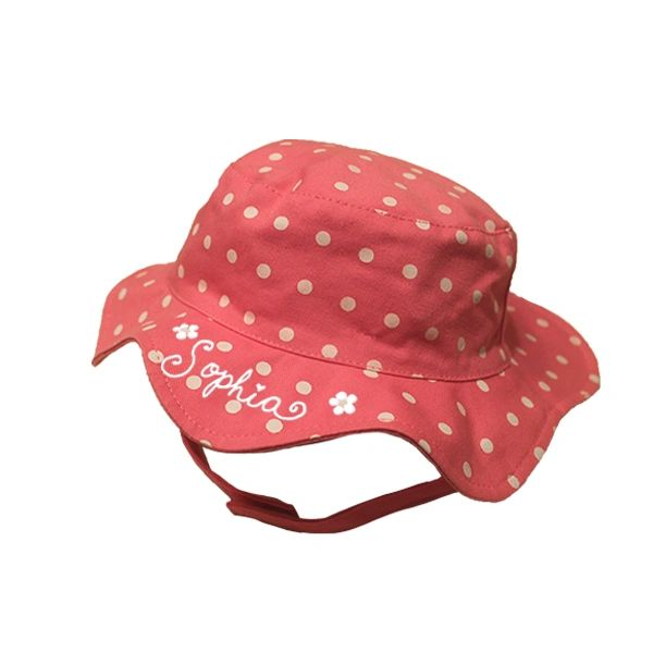 Beach Bucket Hat Pink Polka Dots
