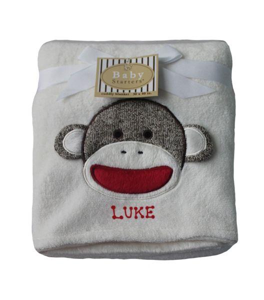 Baby Blanket Sock Monkey Appliqué