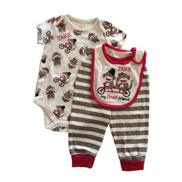 Sock Monkey Baby Gift Set