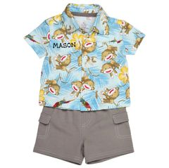 Sock Monkey Button Down Shirt & Shorts Set