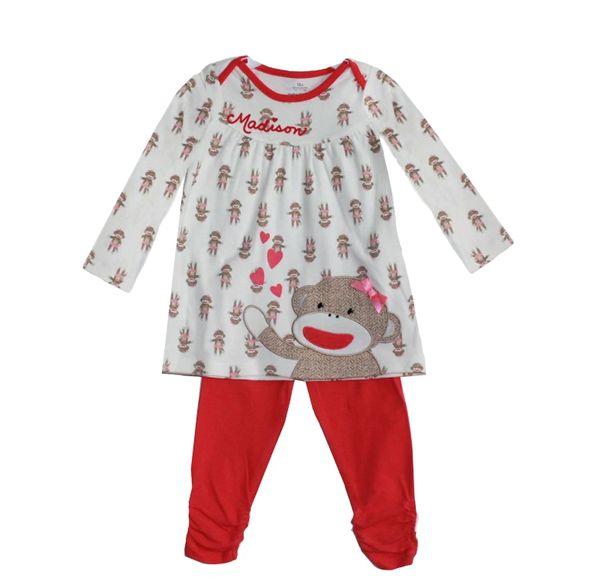 Sock Monkey Girls Top + Pants Set
