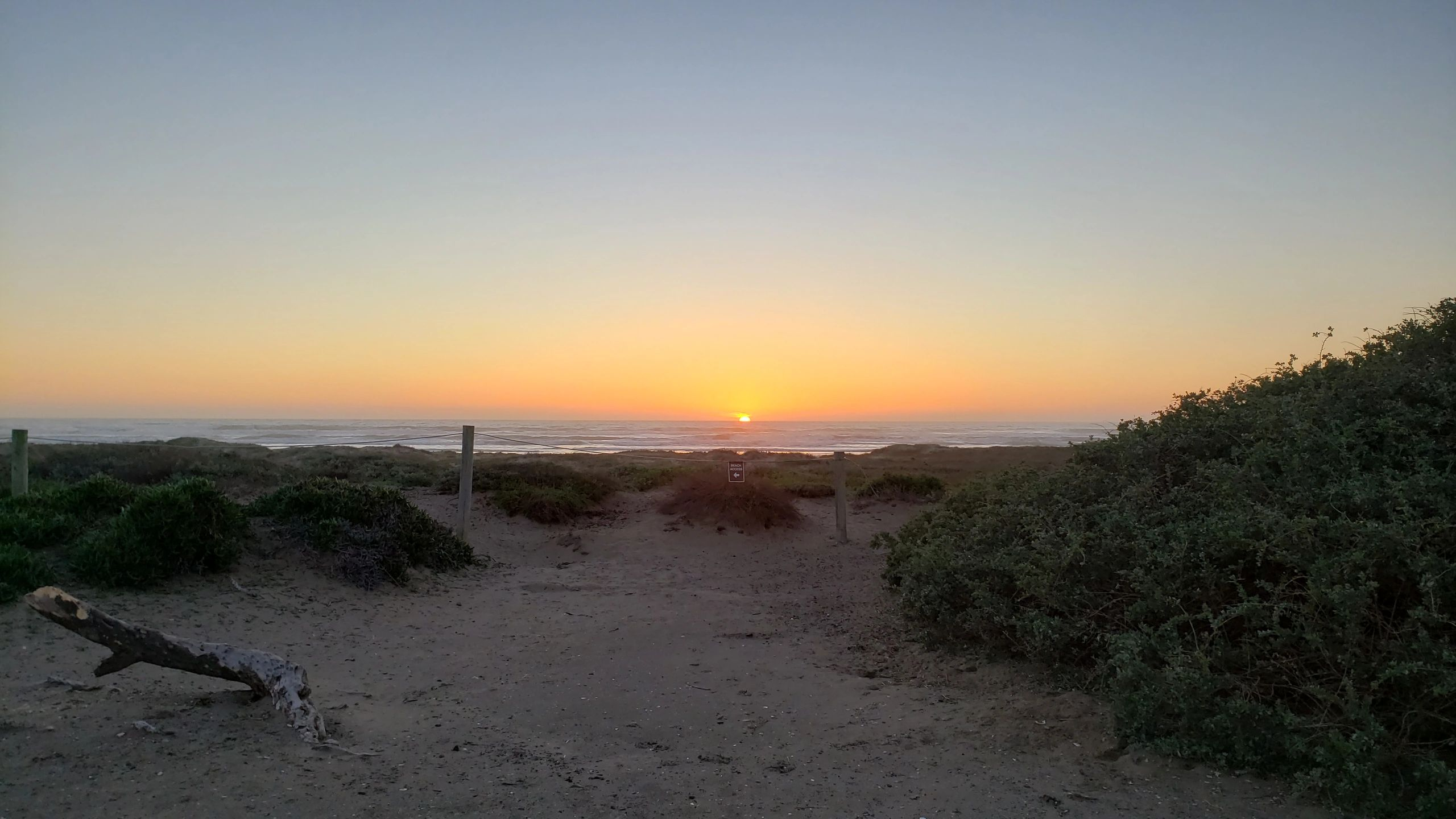Carpinteria State Beach sunset from RV full hook -ups at beach front site 376.  Photo by Debi