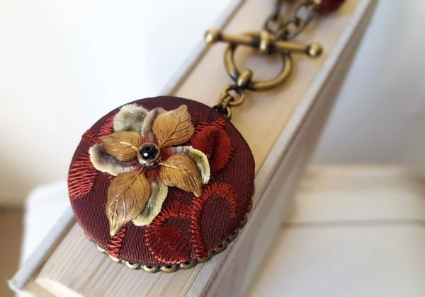 ANA - Textile Pendant Necklace, Burgundy