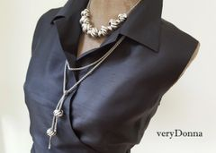 ANNE - Two Piece Knot Bead Necklace and Lariat, SILVER