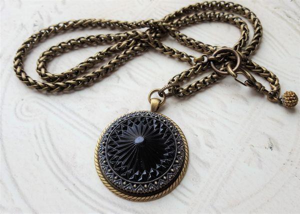 SOPHIA - Antique Jet Glass Necklace, Long to Short