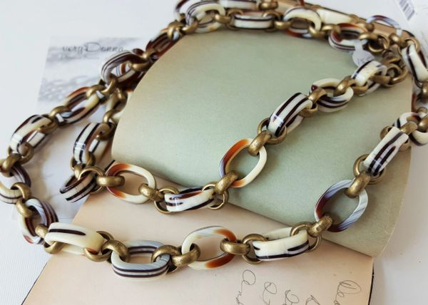Vintage Lucite Chain, Long Wrap Necklace