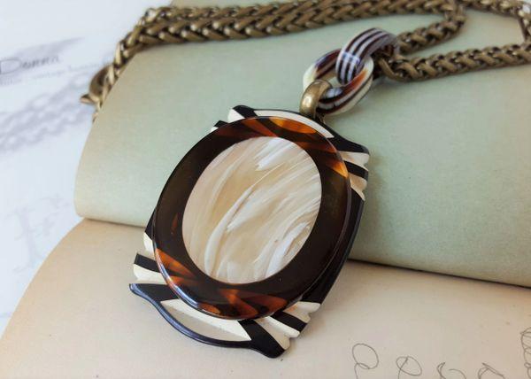 LUCIA - Art Deco Necklace, Black/Cream/Tortoise