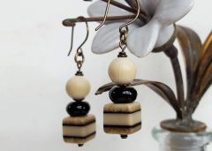 Black and Cream Cube and Ball Earrings, vintage