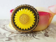 SUNSHINE - Sunflower Czech Glass Brooch
