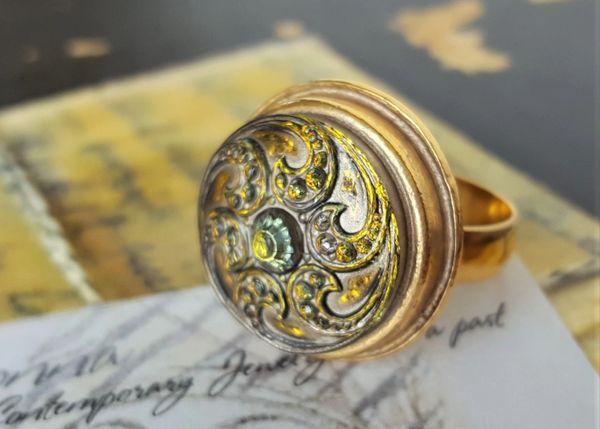 Golden Swirls, Czech Glass Ring
