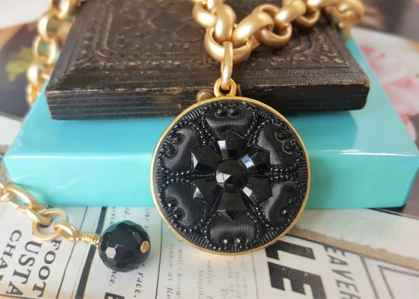 JET - Victorian Black Glass Necklace