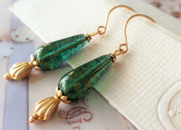 EME - Emerald Green Drop Earrings
